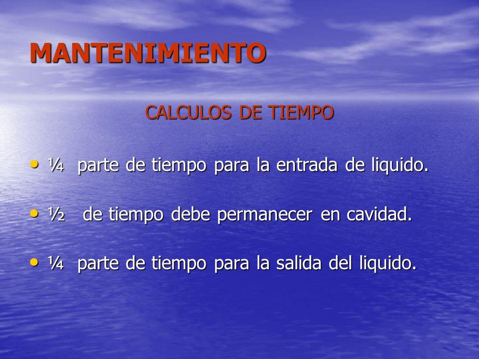 MANTENIMIENTO CALCULOS DE TIEMPO