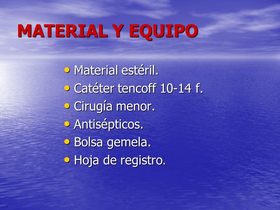 MATERIAL Y EQUIPO Material estéril. Catéter tencoff 10-14 f.