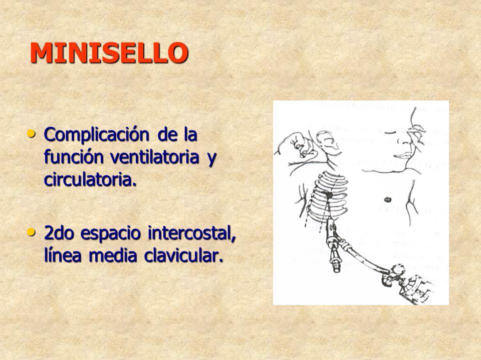 MINISELLO Complicación de la función ventilatoria y circulatoria.
