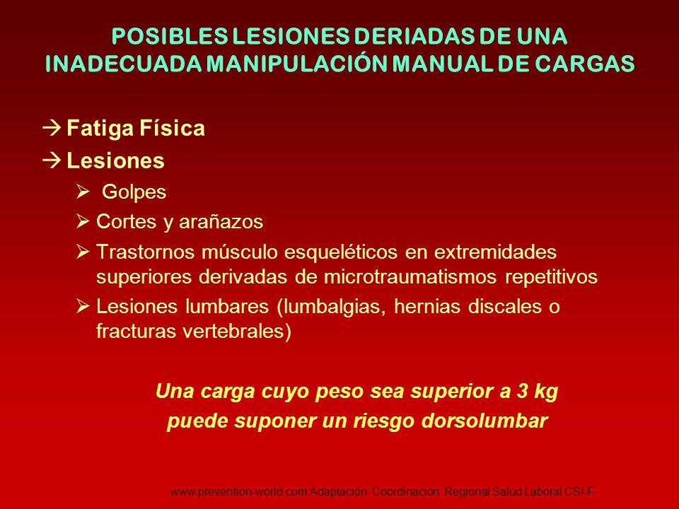 POSIBLES LESIONES DERIADAS DE UNA INADECUADA MANIPULACIÓN MANUAL DE CARGAS
