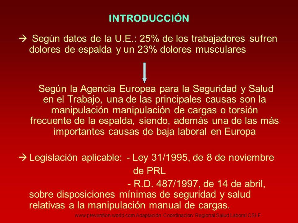 Legislación aplicable: - Ley 31/1995, de 8 de noviembre de PRL