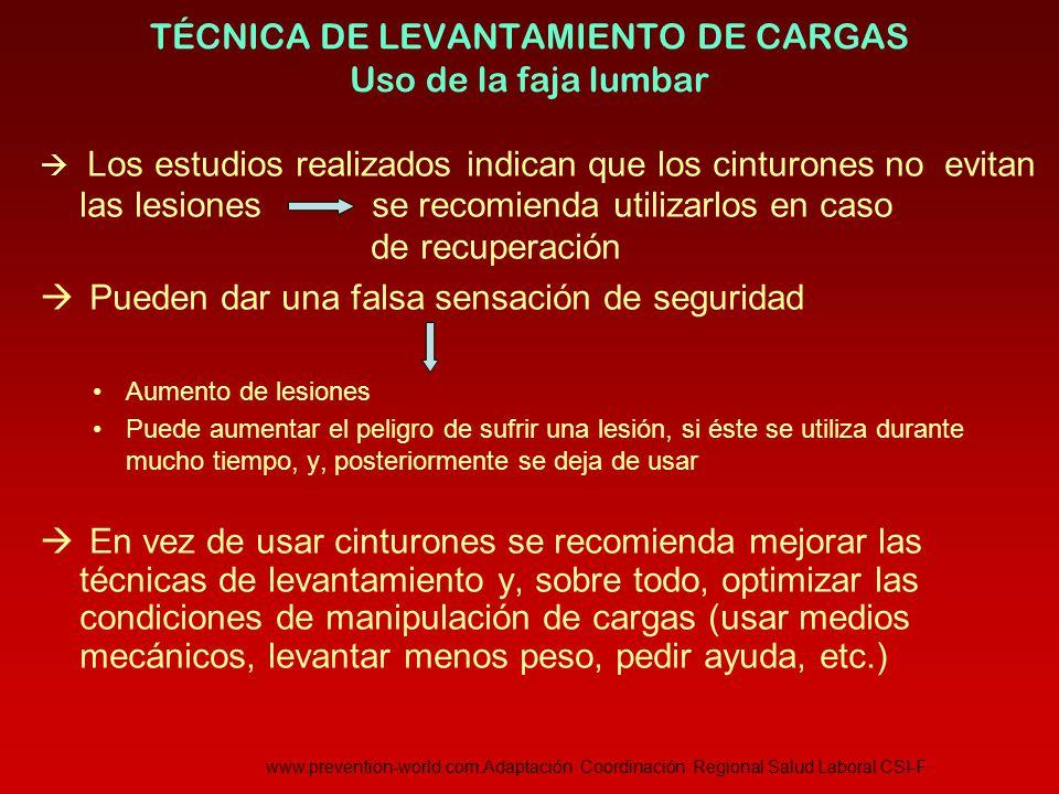 TÉCNICA DE LEVANTAMIENTO DE CARGAS Uso de la faja lumbar