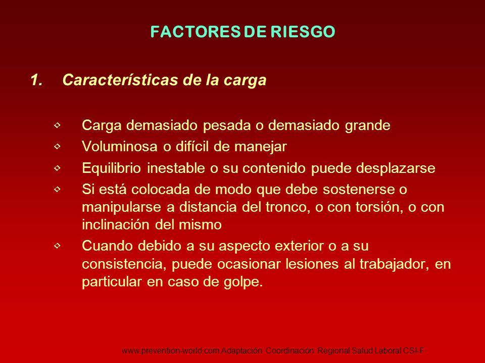 Características de la carga