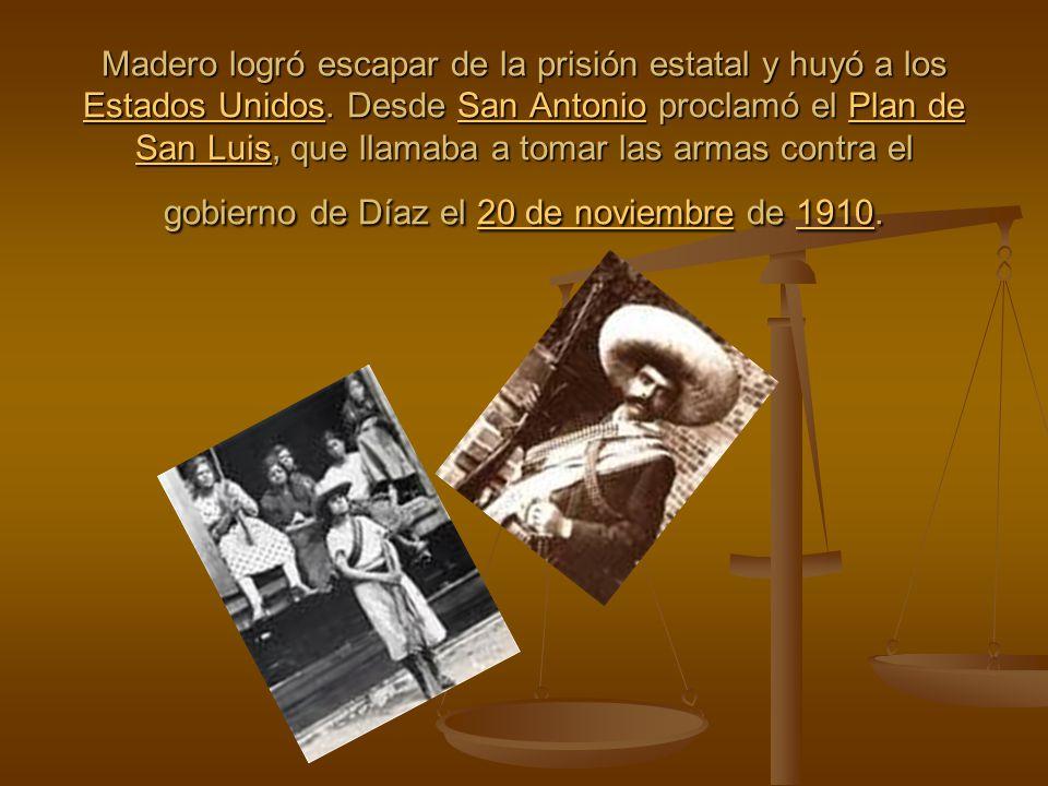 Madero logró escapar de la prisión estatal y huyó a los Estados Unidos
