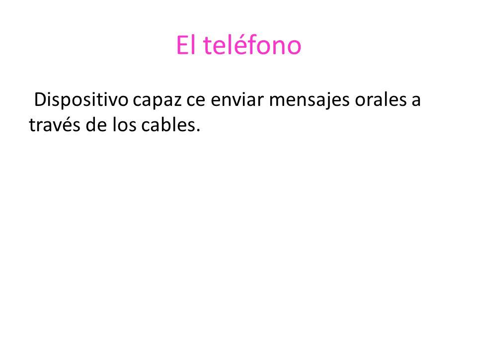 El teléfono Dispositivo capaz ce enviar mensajes orales a través de los cables.