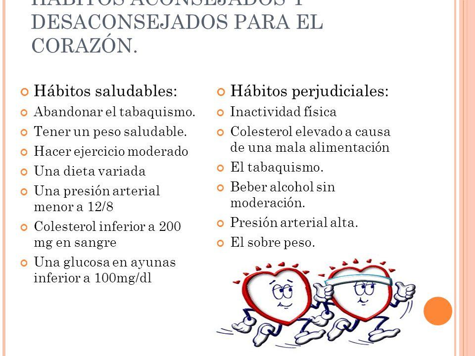 HÁBITOS ACONSEJADOS Y DESACONSEJADOS PARA EL CORAZÓN.