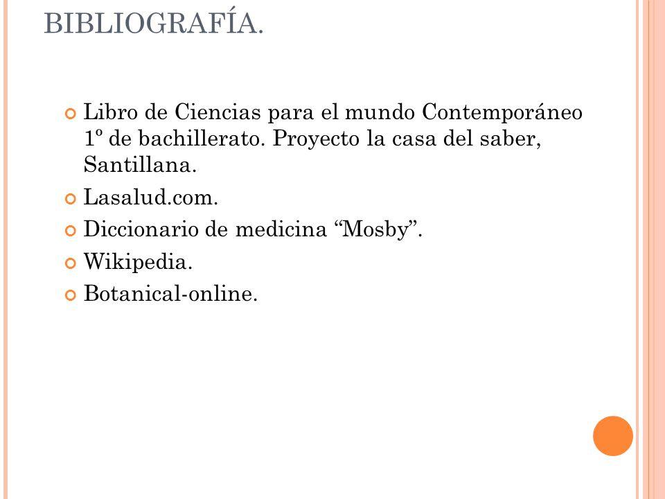 BIBLIOGRAFÍA. Libro de Ciencias para el mundo Contemporáneo 1º de bachillerato. Proyecto la casa del saber, Santillana.