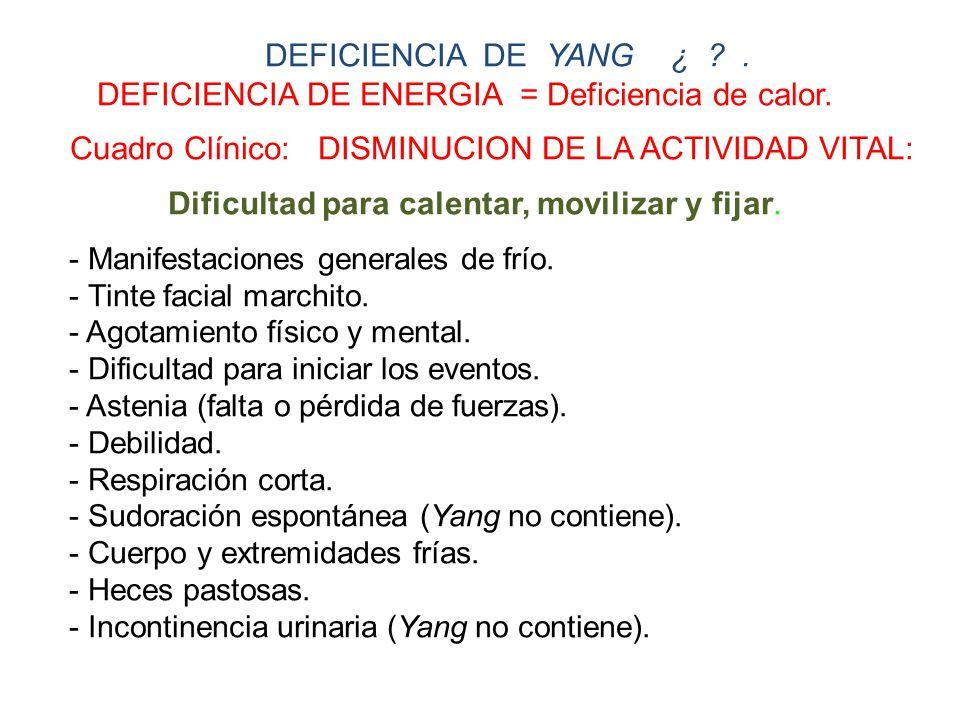 DEFICIENCIA DE ENERGIA = Deficiencia de calor.