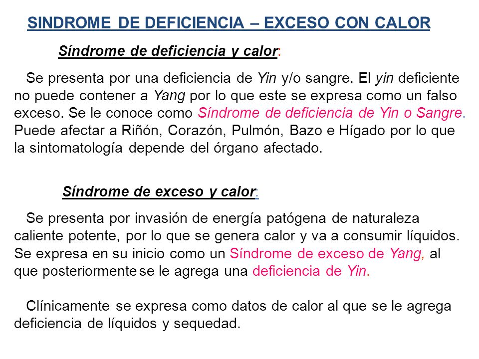 SINDROME DE DEFICIENCIA – EXCESO CON CALOR
