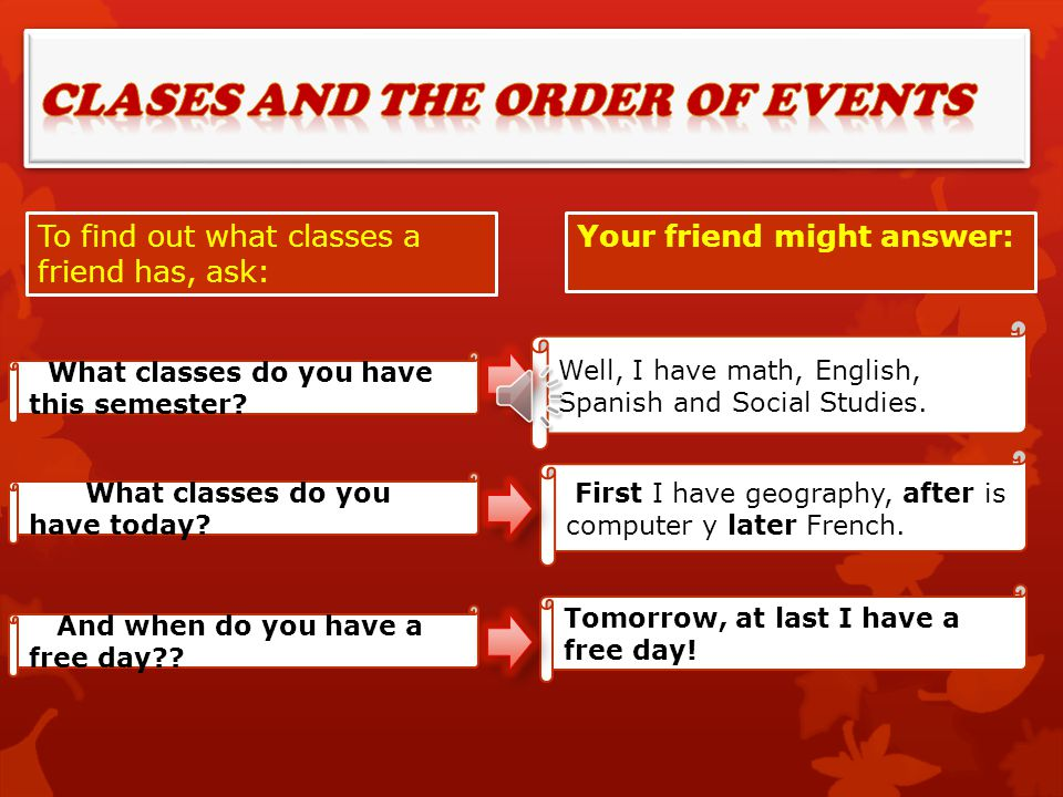 Clases and the order of events