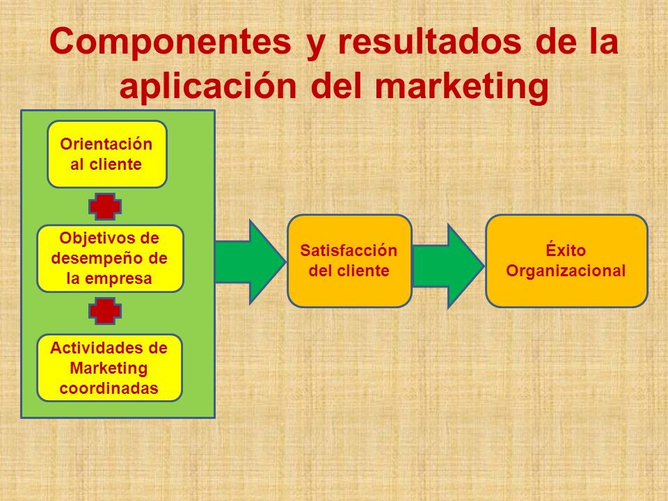 Componentes y resultados de la aplicación del marketing