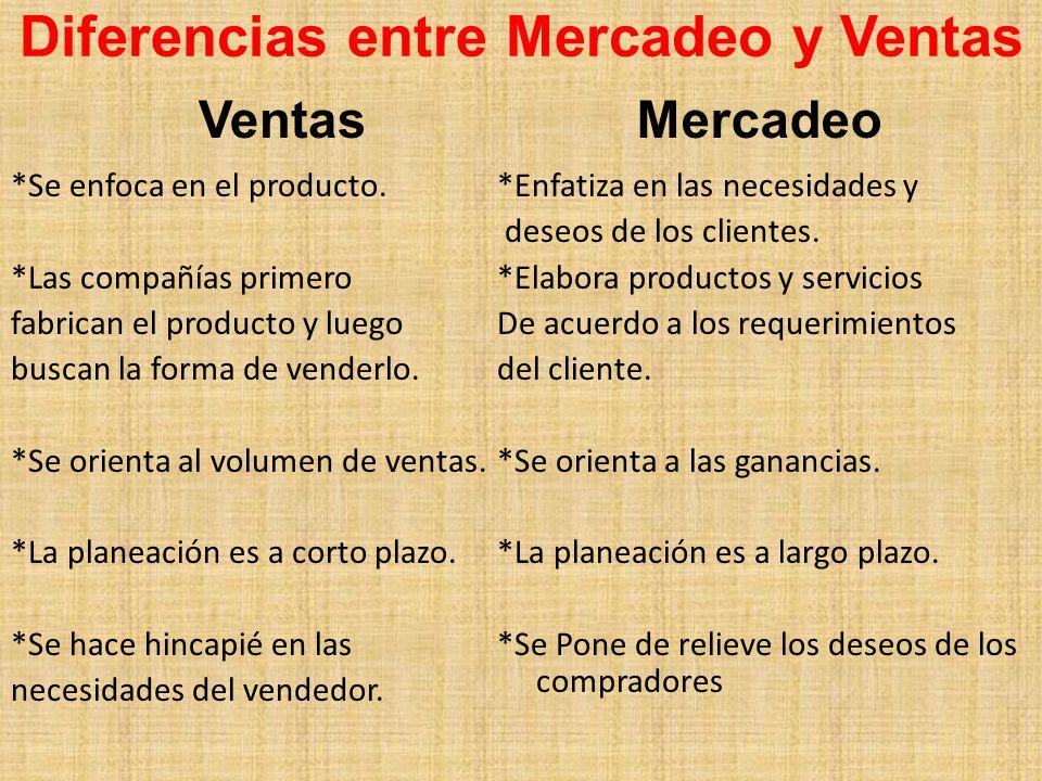 Diferencias entre Mercadeo y Ventas