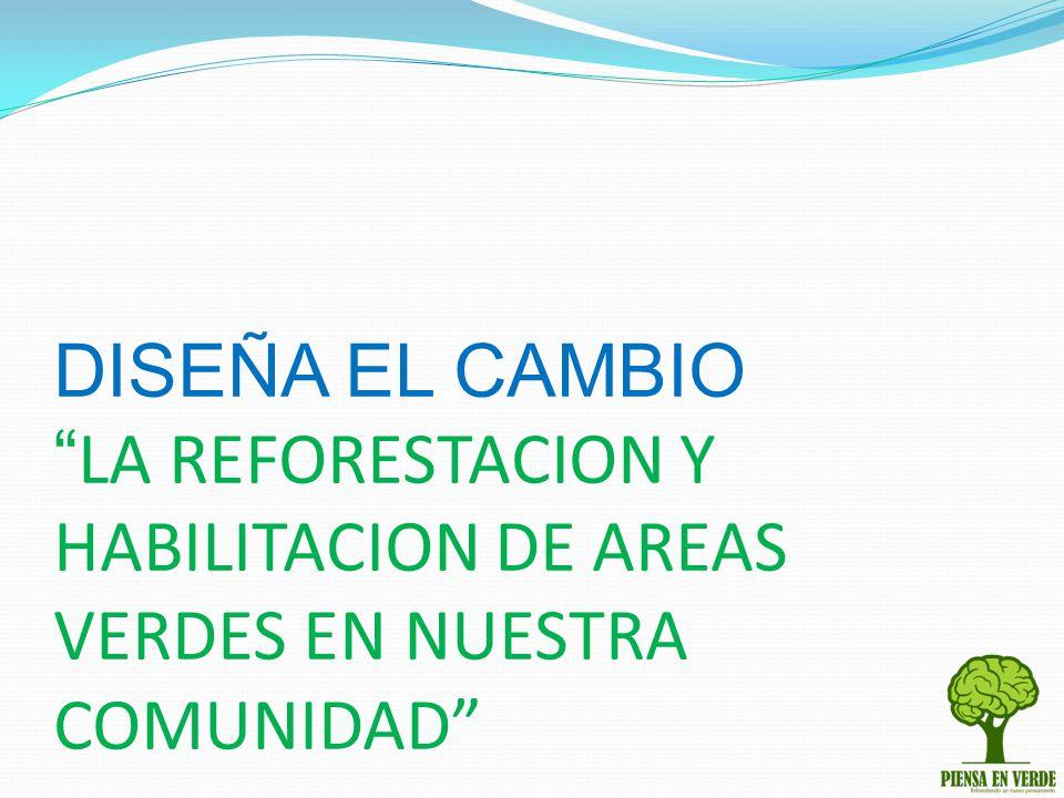 DISEÑA EL CAMBIO LA REFORESTACION Y HABILITACION DE AREAS VERDES EN NUESTRA COMUNIDAD