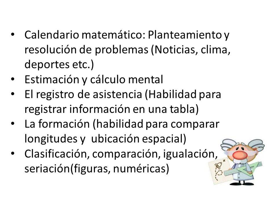 Calendario matemático: Planteamiento y resolución de problemas (Noticias, clima, deportes etc.)