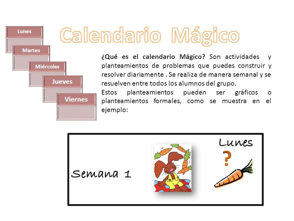 Calendario Mágico Lunes Semana 1 Jueves Viernes