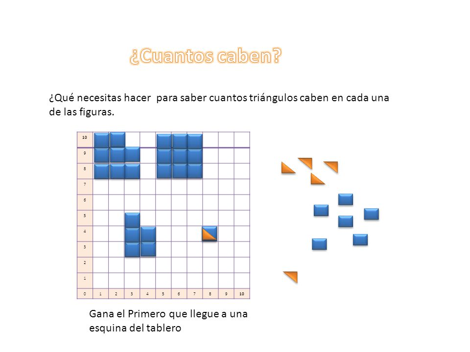 ¿Cuantos caben ¿Qué necesitas hacer para saber cuantos triángulos caben en cada una de las figuras.