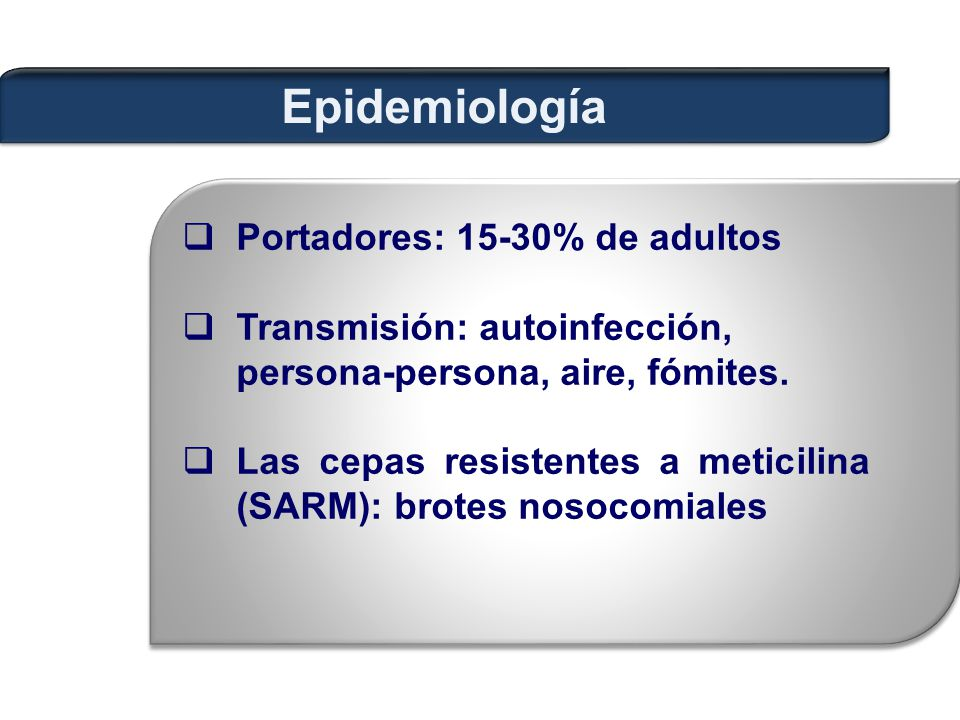 Epidemiología Portadores: 15-30% de adultos