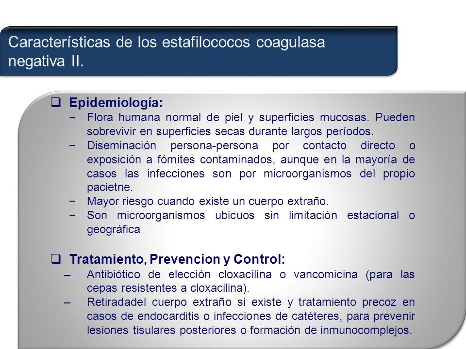 Características de los estafilococos coagulasa negativa II.