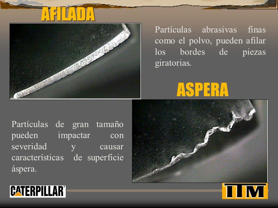 AFILADA Partículas abrasivas finas como el polvo, pueden afilar los bordes de piezas giratorias. ASPERA.