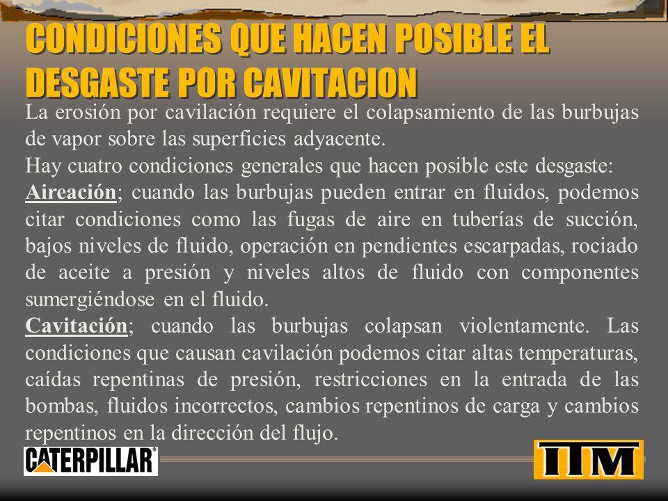 CONDICIONES QUE HACEN POSIBLE EL DESGASTE POR CAVITACION
