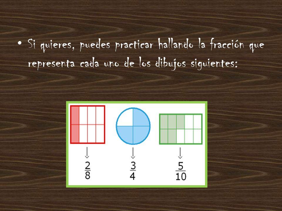 Si quieres, puedes practicar hallando la fracción que representa cada uno de los dibujos siguientes: