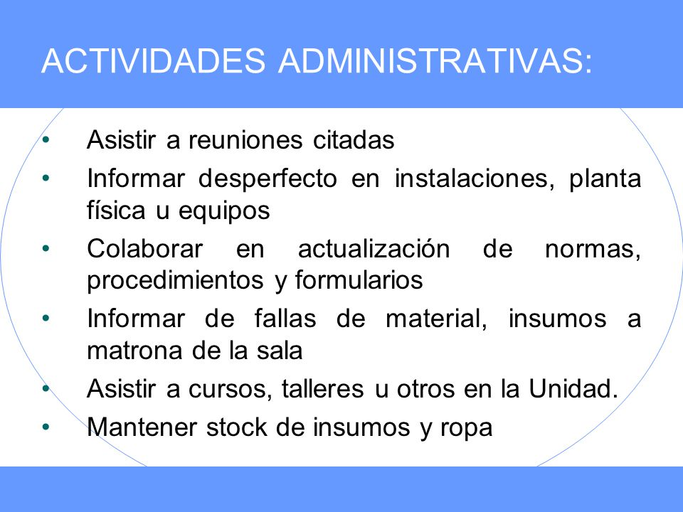 ACTIVIDADES ADMINISTRATIVAS: