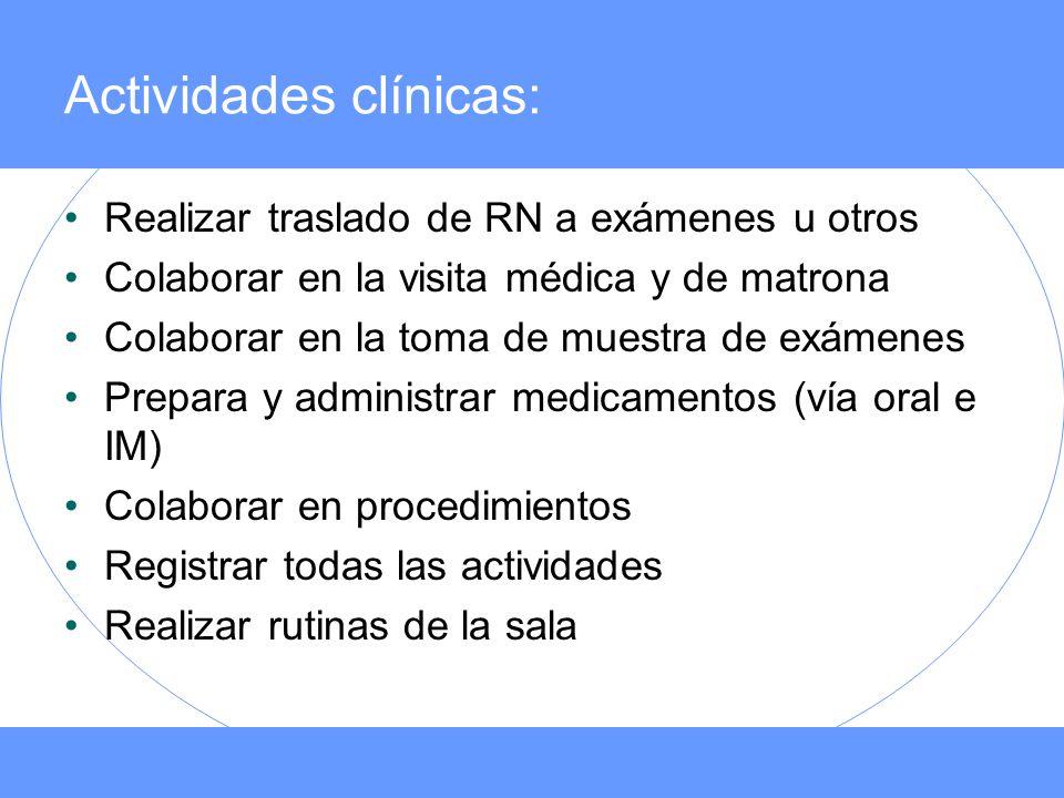 Actividades clínicas:
