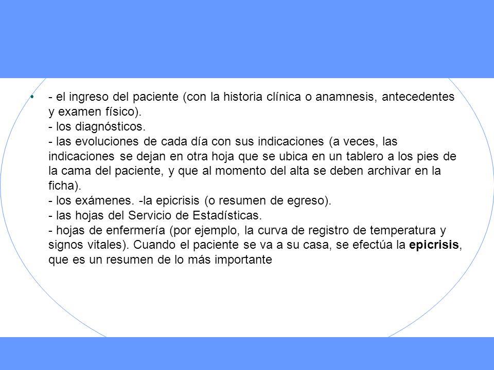 - el ingreso del paciente (con la historia clínica o anamnesis, antecedentes y examen físico).