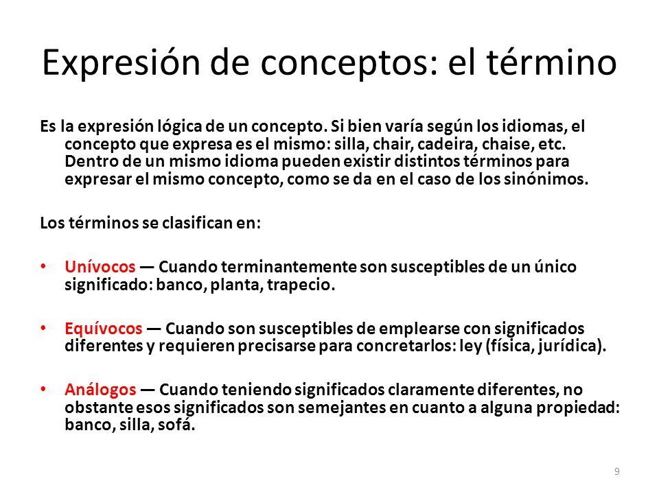Expresión de conceptos: el término