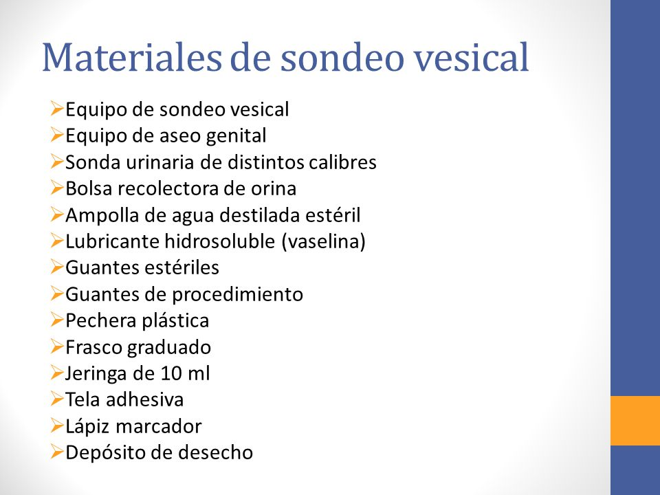 Materiales de sondeo vesical