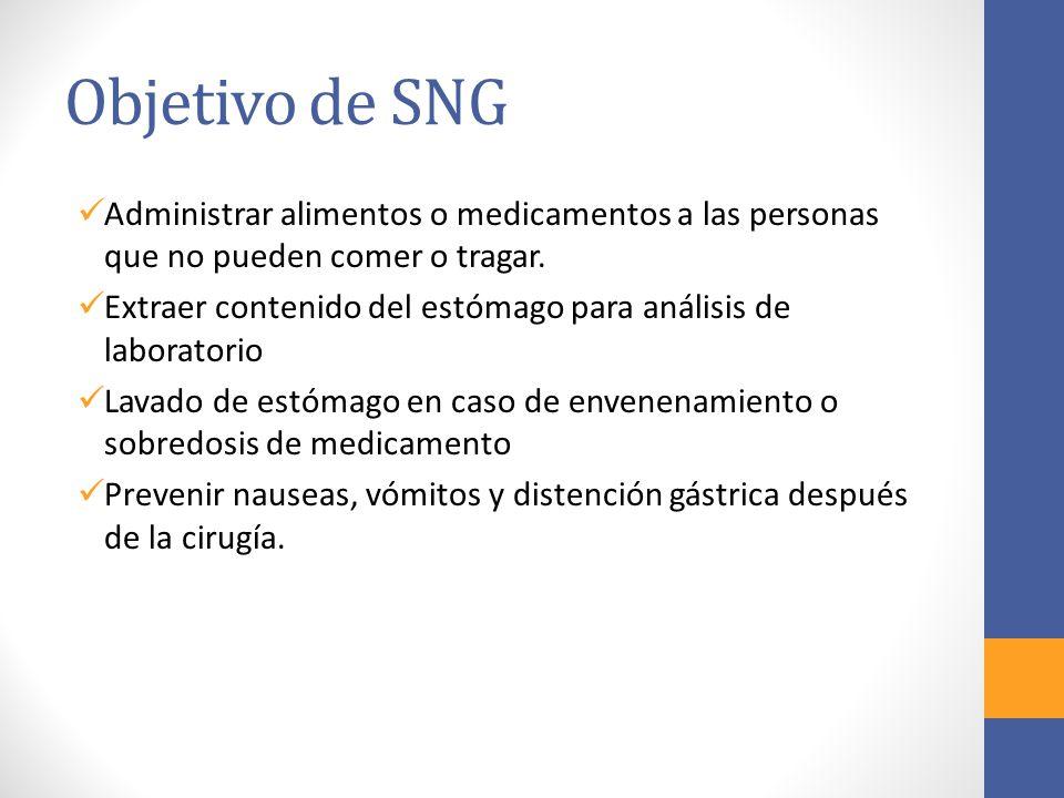 Objetivo de SNG Administrar alimentos o medicamentos a las personas que no pueden comer o tragar.