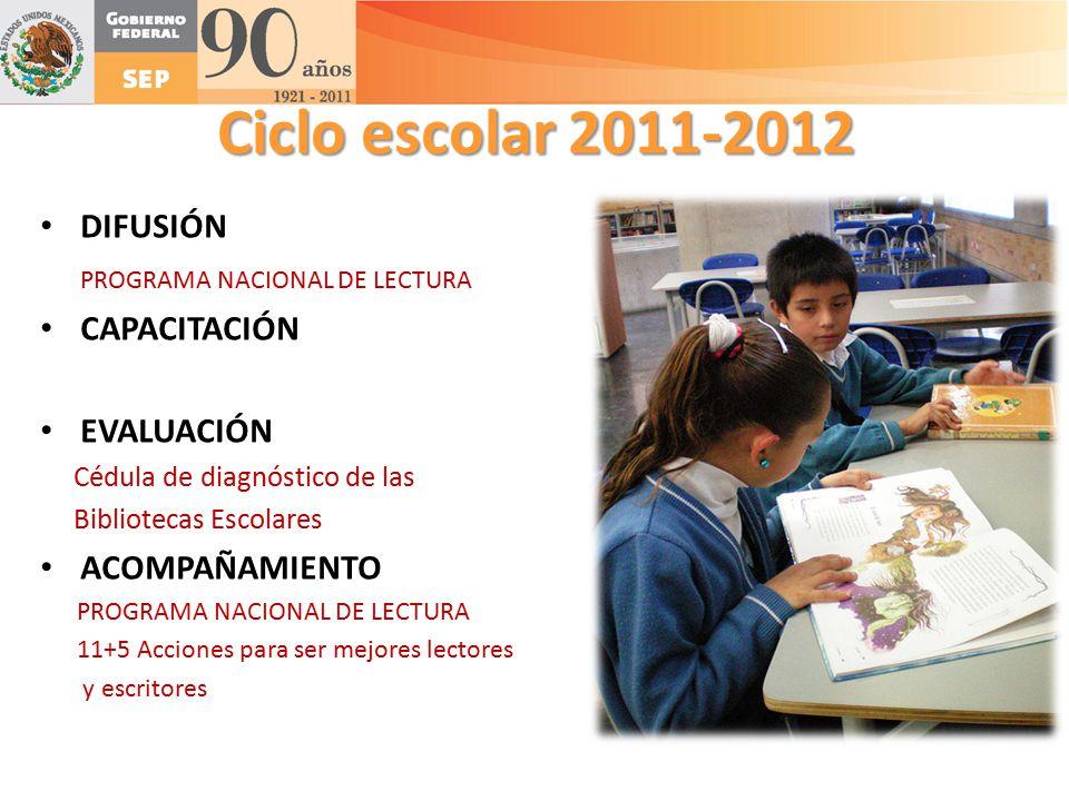 Ciclo escolar 2011-2012 DIFUSIÓN PROGRAMA NACIONAL DE LECTURA
