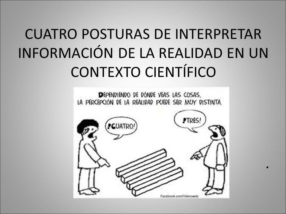 CUATRO POSTURAS DE INTERPRETAR INFORMACIÓN DE LA REALIDAD EN UN CONTEXTO CIENTÍFICO