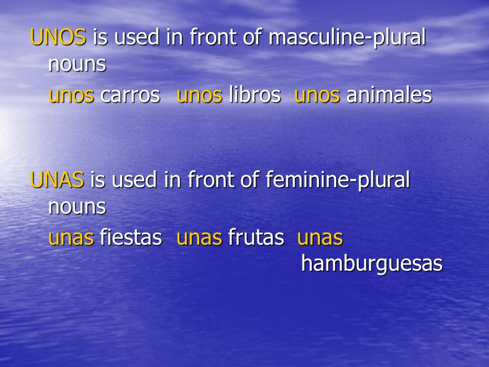 UNOS is used in front of masculine-plural nouns