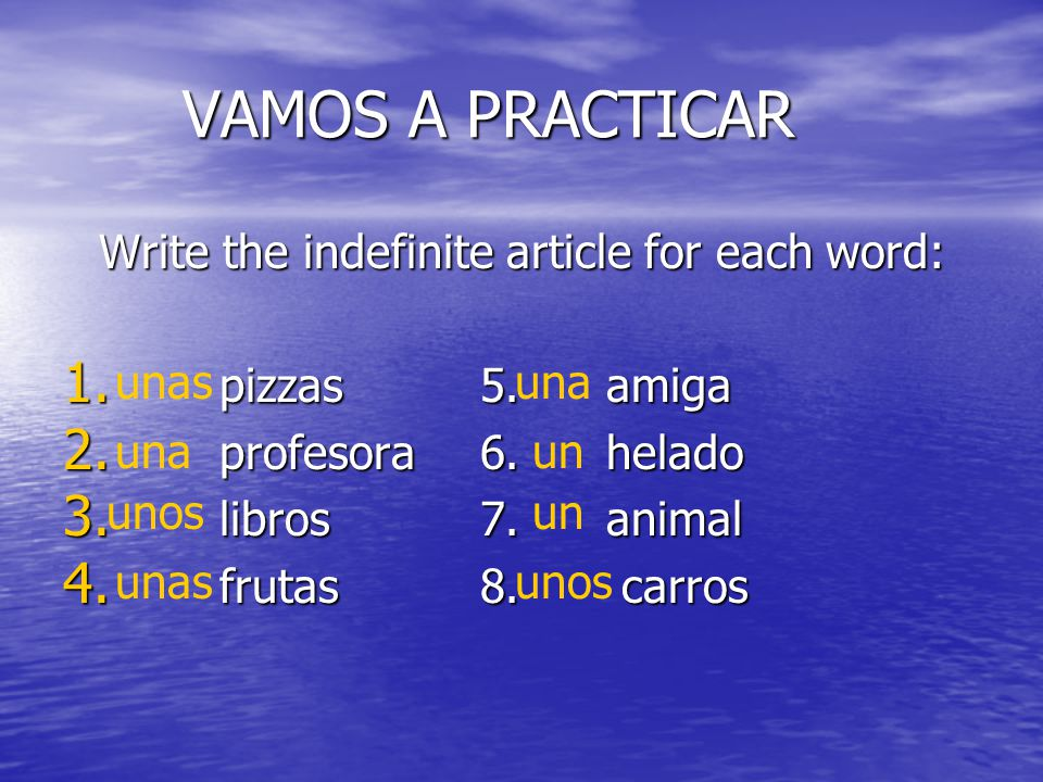 Write the indefinite article for each word:
