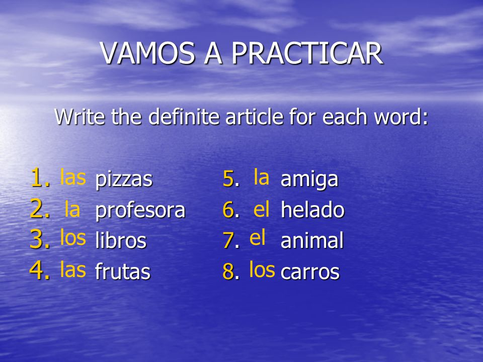 Write the definite article for each word: