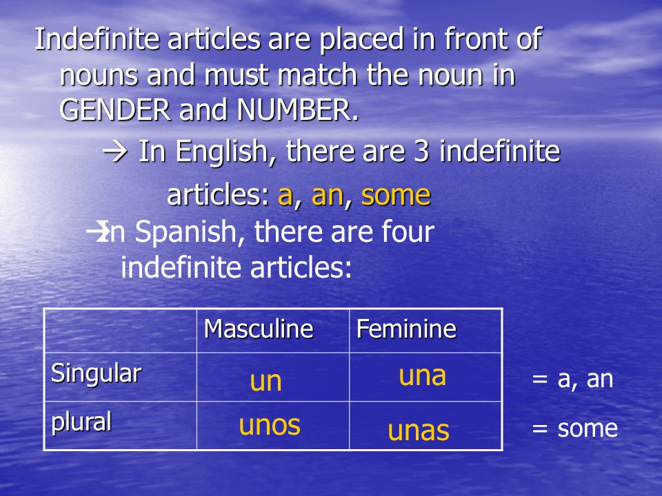  In English, there are 3 indefinite articles: a, an, some