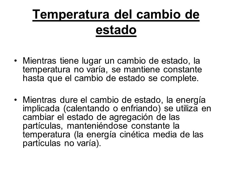 Temperatura del cambio de estado