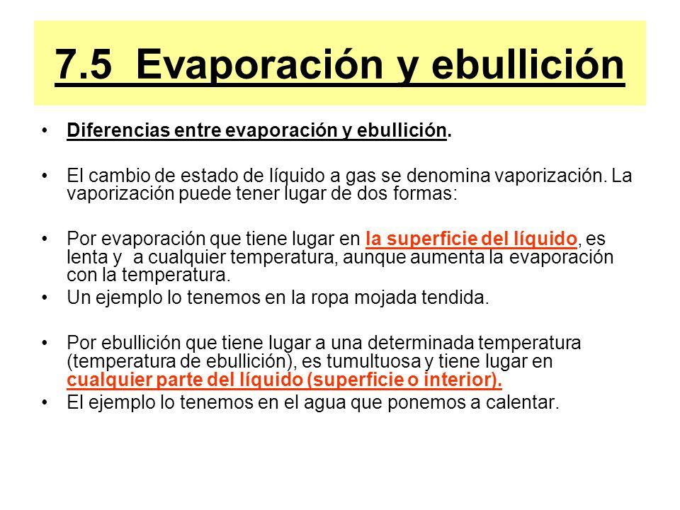 7.5 Evaporación y ebullición