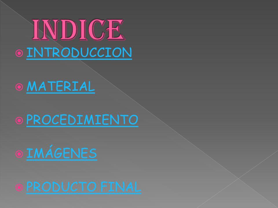 INDICE INTRODUCCION MATERIAL PROCEDIMIENTO IMÁGENES PRODUCTO FINAL