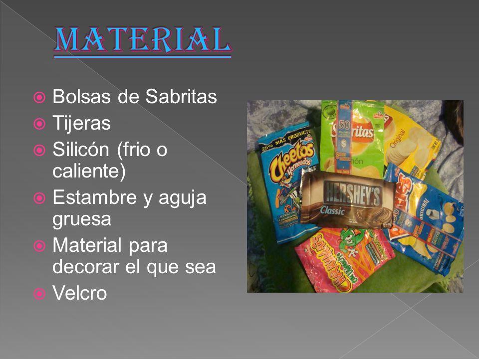 MATERIAL Bolsas de Sabritas Tijeras Silicón (frio o caliente)