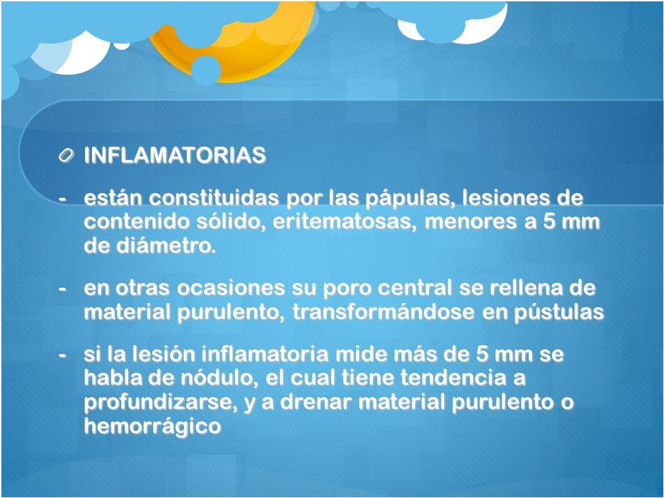 INFLAMATORIAS están constituidas por las pápulas, lesiones de contenido sólido, eritematosas, menores a 5 mm de diámetro.