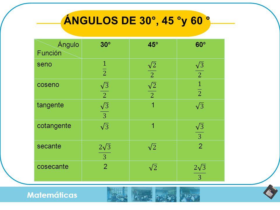 ÁNGULOS DE 30°, 45 °y 60 ° Matemáticas Ángulo Función 30° 45° 60° seno