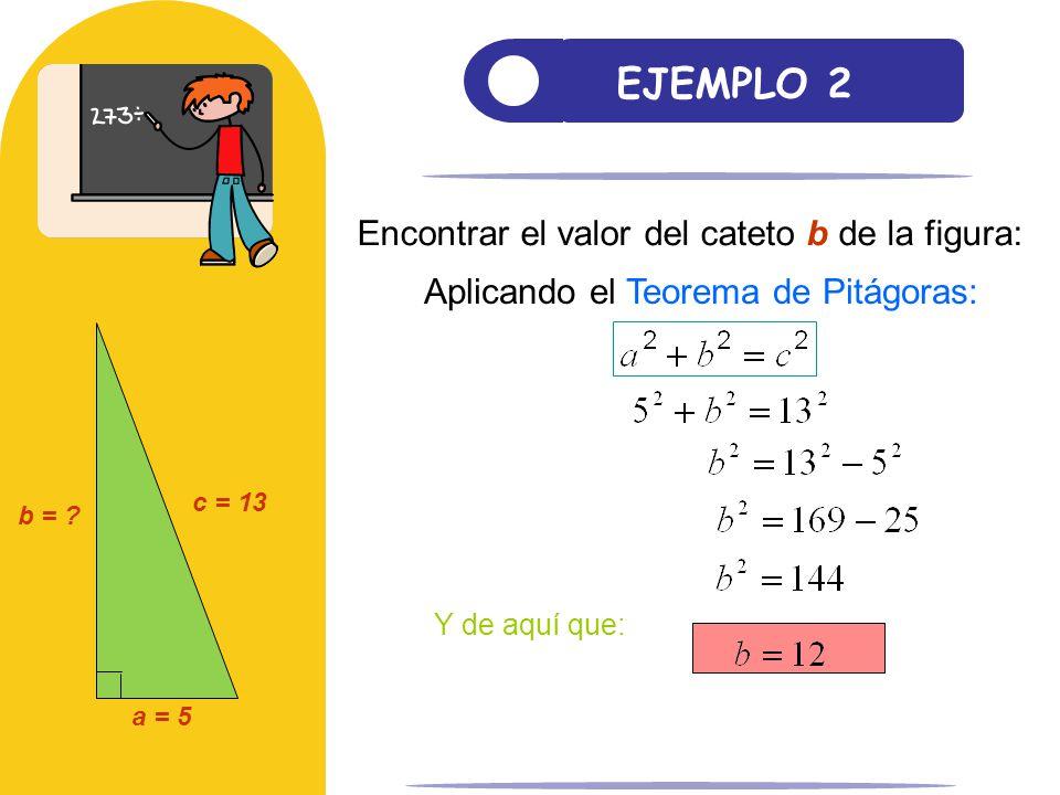 EJEMPLO 2 Encontrar el valor del cateto b de la figura: