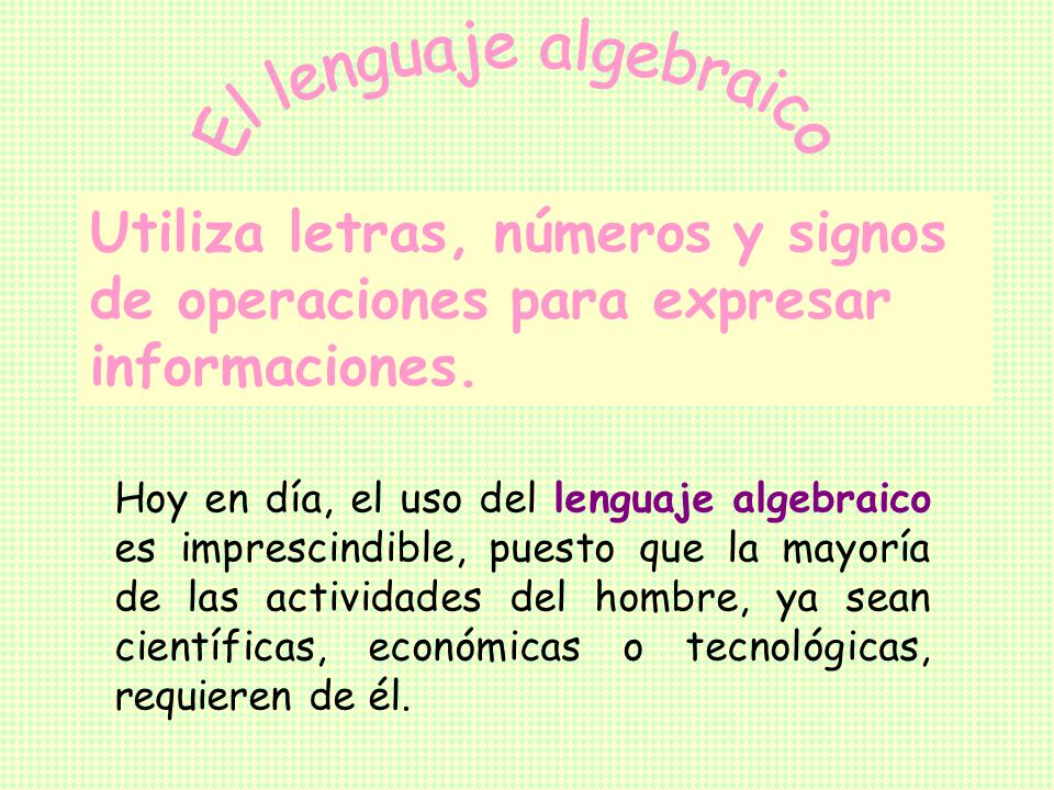 El lenguaje algebraico