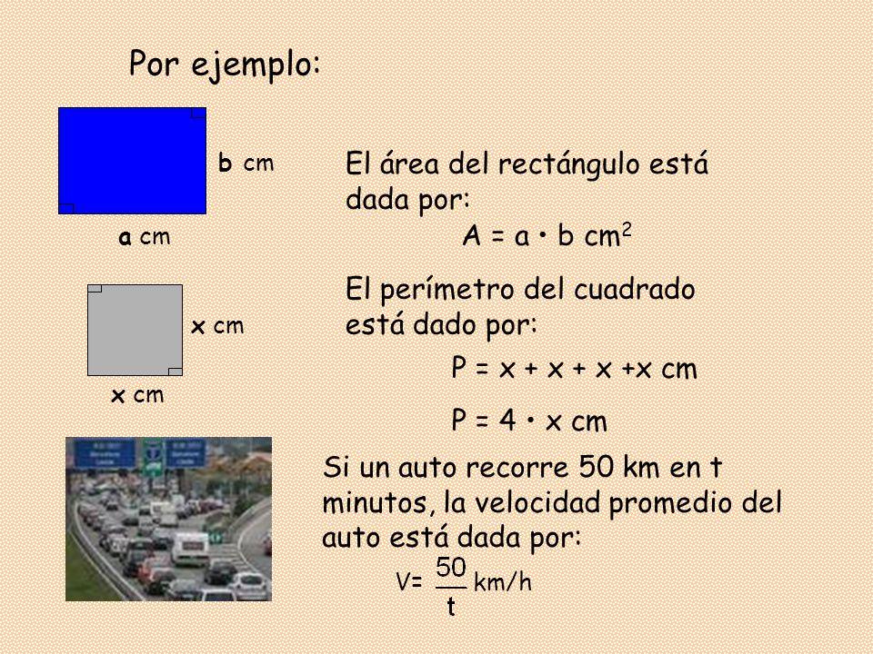 Por ejemplo: El área del rectángulo está dada por: A = a • b cm2