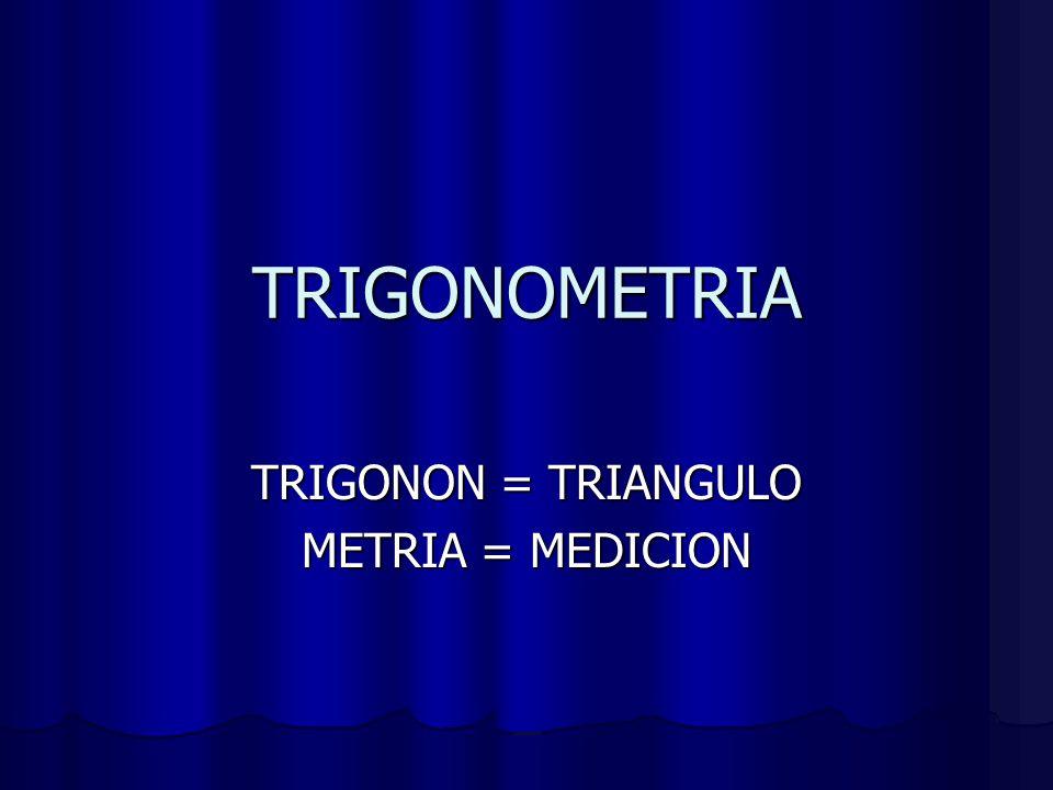 TRIGONON = TRIANGULO METRIA = MEDICION