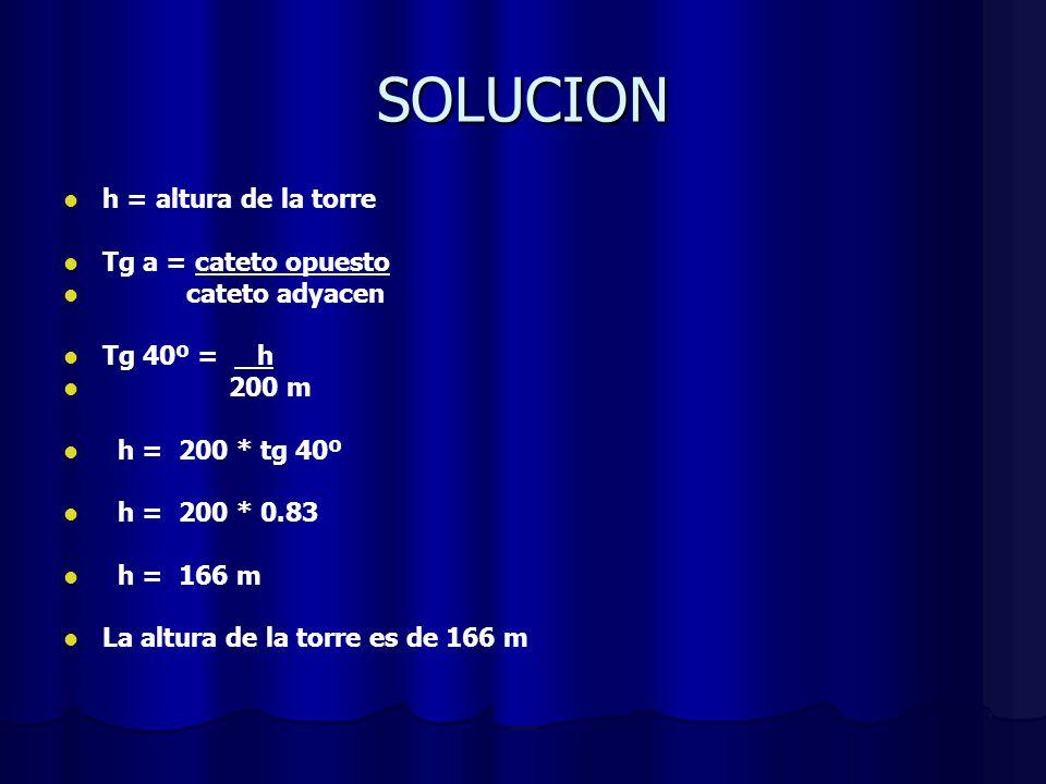 SOLUCION h = altura de la torre Tg a = cateto opuesto cateto adyacen