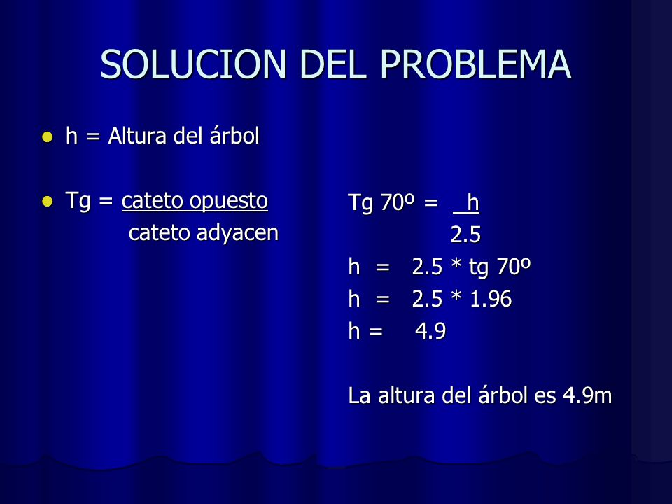SOLUCION DEL PROBLEMA h = Altura del árbol Tg = cateto opuesto
