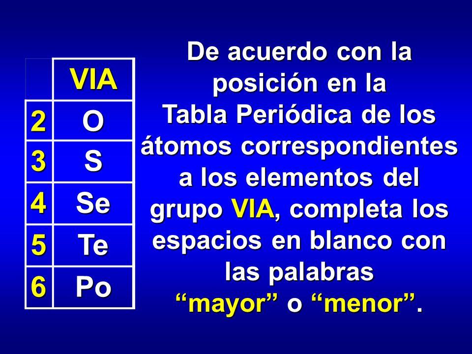 de acuerdo con la posicin en la tabla peridica de los tomos correspondientes a los elementos - Tabla Periodica Grupo 6 A